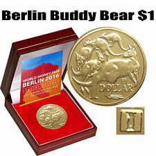 2016 WMF Berlin Special Issue $1 Buddy Bear Privy World Money Fair Case COA RARE