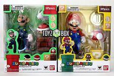 """In STOCK S.H. Figuarts Super Mario Bros.""""Luigi + Mario"""" SET Bandai Action Figure"""