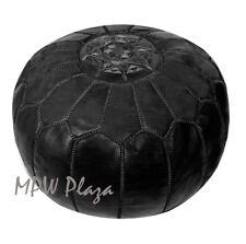 MPW Plaza Pouf, Black, Moroccan Leather Ottoman (Un-Stuffed)