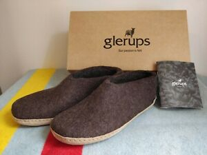 Glerups Shoe Slipper with Leather Sole, Natural Brown, Size 41, M: 8/8.5 W: 10