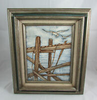 """Vintage Print Painting of Seagulls and Ocean Dock Signed O. Oakley 12.75""""x14.75"""""""