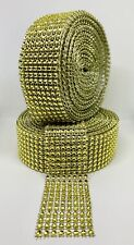 30 FT 8 Row Gold Diamond Rhinestone Mesh Ribbon Bling Wrap Roll Favor Decor Gift