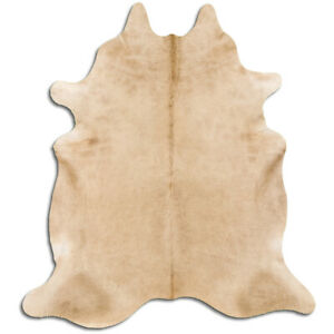 Real Cowhide Rug Beige Size 6 by 7 ft, Top Quality, Large Size