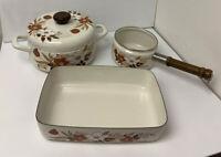 VTG Kingsbury Cookware Enamel Pot, Saucepan, and Lasagna Pan Dogwood Pattern