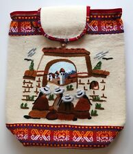 Peruvian Backpack Drawstring Hand Crafted Embroidered & Padded People Peru #4