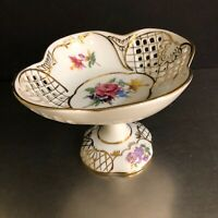 Decorative Footed Bowl Dish Reticulated Trim Floral Gold Candy Trinket China