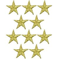 """Star Applique Patch - Gold 5/8"""" (10-Pack, Iron on)"""
