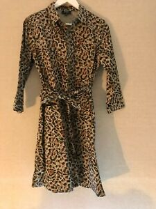 APC belted leopard print shirt dress size 38
