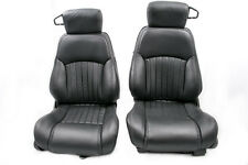 98-02 Firebird/Trans Am Ebony Black Katzkin Leather Seat Covers NEW SET F&R