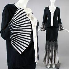 M/L Vintage 1990s Black White Knit Mermaid Skirt Flare Slv Top Dress Set 90s
