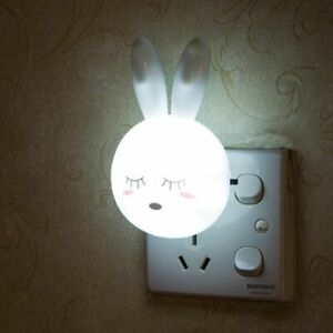 LED Rabbit Night Lights ABS Cartoon Switch Bedroom Children Bedside Wall Lamps