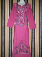 EGYPT ISLAMIC EMBROIDERY COTTON ABAYA JILBAB DRESS KAFTAN HIJAB NIQAB M L XL XXL
