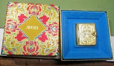 "AVON Solid Perfume w box, ornate golden book-shaped 1.2""x1.5"" hjs"