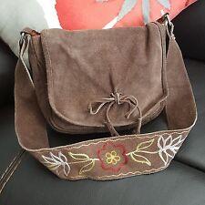 Hurley Purse Shoulder Bag Small Saddlebag Zip Suede Leather Brown