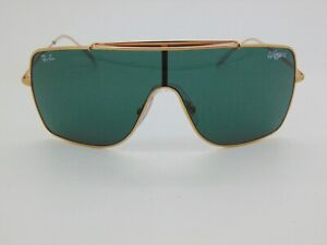 Ray Ban WINGS II RB 3697 9050/71 Gold/Green Classic Authentic Shield Sunglasses