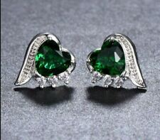 4.20Ct Heart Cut Green Emerald Push Back Twisted Earrings 18K White Gold Finish