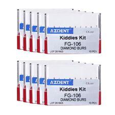 10PCS/KIT NEW 50 Kits Dental Diamond Burs Kiddies Children Kit FG-106 Red Italy