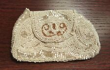 Antique/Vintage Beaded Evening Clutch Purse Ivory & White Iridescent Beads