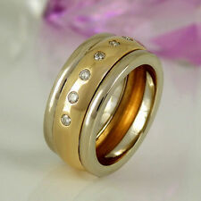 Echtschmuck im Band-Stil aus mehrfarbigem Gold mit Diamant für Damen Ringe