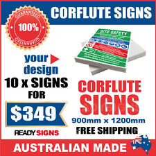 Custom Corflute Signs Bulk 10 X 900mm x 1200mm x 5mm  - Australian Made