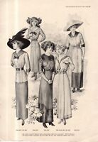 1911 Original Delineator Fashion Print - Summer Waists, Dresses and Skirts