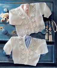 "Baby/toddler girl's pattern panel cardigan knitting pattern 16""-24"" chest DK 123"