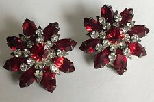 Radiant Vintage Miriam Haskell Earrings~Red/Clear Rhinestones/Silver Tone~Signed
