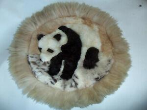 "PERU Alpaca Fur Rug Handmade  Round 22"" Diameter Panda"