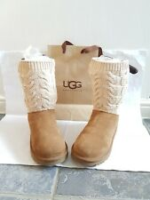 Genuine/ugg uggs leather and knitted boots size 6.5 or eu 39 tan and cream.