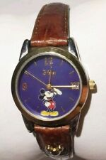 Women Disney Mickey Watch By Siio Mu0937 Brown Band Gold Silver Case Blue Face