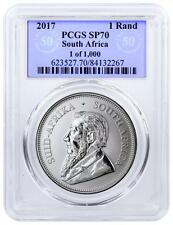 2017 SOUTH AFRICA SILVER KRUGERRAND PCGS SP70 UV 50TH ANNIVERSARY TINY POP 59!!