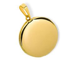 Medaillon rund hochglanz Edelstahl für 2 Fotos Anhänger Amulett-PVD Gold