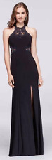 Black Illusion Lace and Stretch Jersey Halter Dress NEW with tags, size 1