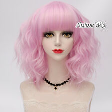 Popular Lolita Heat Resistant Women Cosplay Party Curly Medium Wig With Bangs