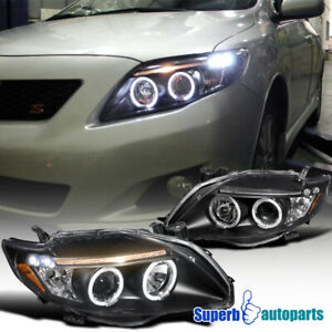 For 2009-2010 Toyota Corolla LED Dual Halo Projector Headlights Black