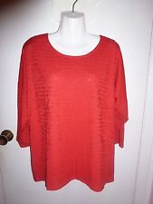 CHICO'S, CHICO'S SZ 2, POLYESTER/SPANDEX, RED BLOUSE, SUBTLE GEOMETRIC PATTERN