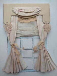 Dollhouse curtain, 1:12 scale, antique and vintage fabrics