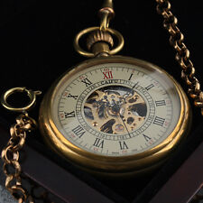 Pocket Watch Mechanical Skeleton Movement Chain Antique Black Steampunk Gold