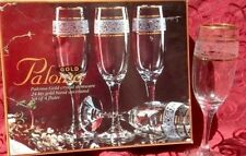 NEW Paloma Gold 24 KTS Bands Crystal Stemware Set of 4 Champagne Flutes + BONUS