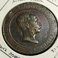 1873 AUSTRIA FRANZ JOSEPH BRONZE MEDAL 37MM