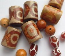 14 Dzi & Carnelian Beads. Assorted Shapes 10-20mm.  Jewellery Making/Bead/Crafts