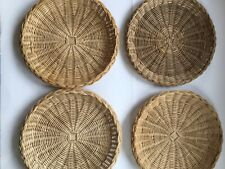 4 Vintage Wicker Paper Plate Holders Bamboo Woven Camping Tiki Home Reusable