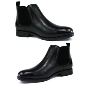 Men Black VEGAN Slip On Smart Chelsea Dealer Work Ankle Boots Shoe Office Size