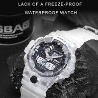 Fashion Men's Sports Clear Band Luminous Alarm Electronic Waterproof Wrist Watch