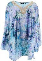 Susan Graver Women's V-Neck Artisan Charmeuse Tunic (Blue/Purple, M) A350167