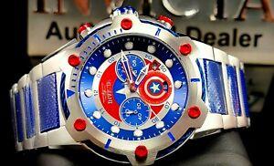 Invicta 52MM Limited Edition Marvel Captain America Chronograph Blue TT Watch