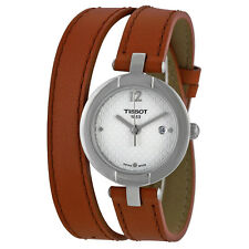 Tissot Trend Pinky Silver Dial Light Brown Leather Ladies Watch T0842101601704