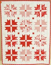 "VIBRANT Red & White Duck Tracks ""Cross & Crown"" Crib Quilt ~Signed & Dated!"