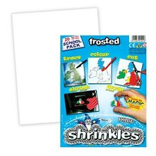 SCHOOL PACK 20 SHEETS LARGE FROSTED SHRINKLES PLASTIC SHRINK ART 262mm x 202mm