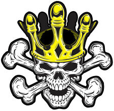 SKULL KING HARD HAT VINYL DECAL  LAMINATED SIZE 50MM BY 40MM (SET 0F 2)